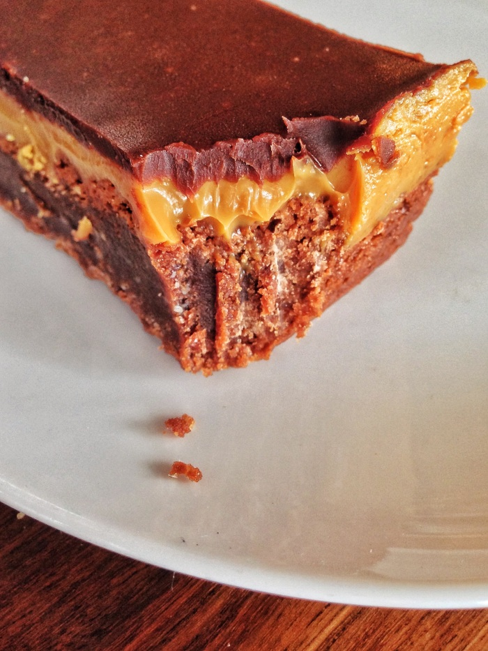 Caramel and chocolate slice